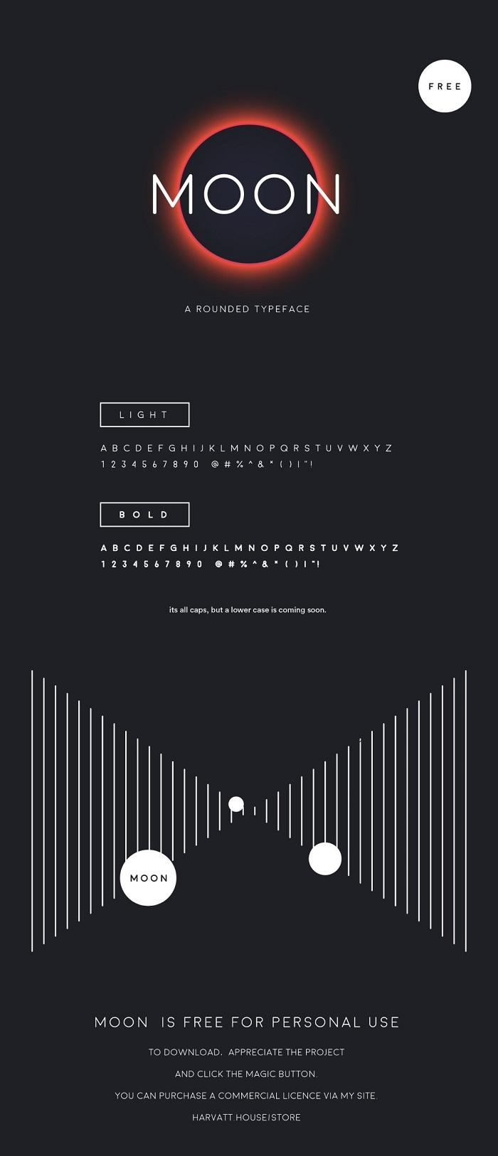 Moon Free Font on Behance - Post