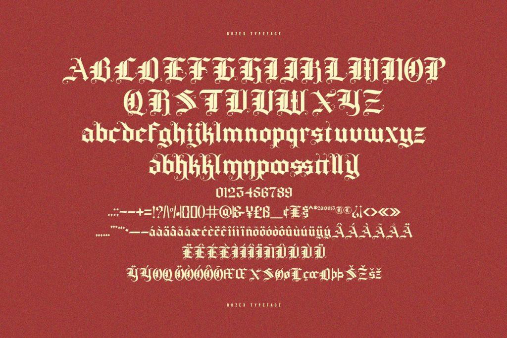 Rozex Bold Decorative Gothic Font Free Download 7 - Post